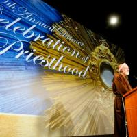 Cardinal Seán P. O'Malley addresses 1,700 guests at the Celebration of the Priesthood Dinner in Boston, Sept. 18. Pilot photo/Gregory L. Tracy